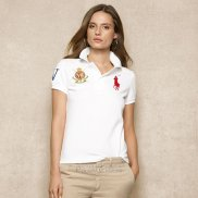 Ralph Lauren Femme Pony Polo Crested Polo Blanc Rouge