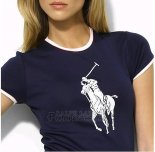 Ralph Lauren Femme Slim Fit Pony Polo T-shirt Bleu Acier1