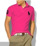 Ralph Lauren Homme Classic Fit Pony Polo Noir Logo Rose Rouge