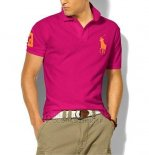 Ralph Lauren Homme Classic Fit Pony Polo Or Logo Rose Rouge