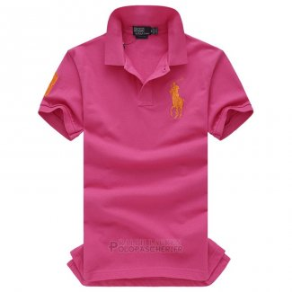 Ralph Lauren Homme Pony Polo Manche Courte Rose Orange