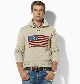 Ralph Lauren Homme Pull With Half Button Usa Flag Gris