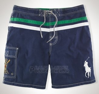 Ralph Lauren Homme Shorts Lacing Pony Polo Stripe Fonce Bleu Blanc