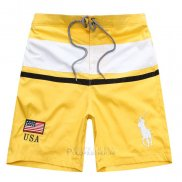 Ralph Lauren Homme Shorts Lacing Pony Polo Stripe Usa Jaune Blanc