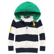Ralph Lauren Enfant Pull Pony Polo Hooded Zip Stripe Blanc Bleu