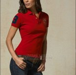 Ralph Lauren Femme Custom Fit Multi Crested Match Polo Rouge