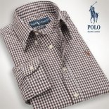 Ralph Lauren Homme Colorful Mesh Polo Grid Marron Blanc