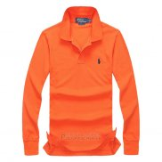 Ralph Lauren Homme Mesh Polo Manches Longues Orange