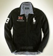 Ralph Lauren Homme Vestes Great Britain Pony Polo Full Zip Noir
