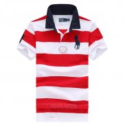 Ralph Lauren Homme Pony Polo Stripe Polo Rouge