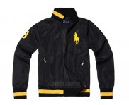 Ralph Lauren Homme Vestes Zip Collar Pony Polo Stripe Noir Or Jaune