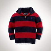 Ralph Lauren Enfant Pull Mesh Polo Half Zip Stripe Rouge