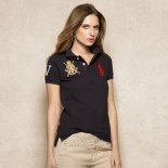 Ralph Lauren Femme Pony Polo Crested Polo Noir Rouge