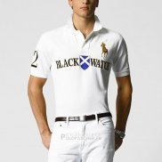 Ralph Lauren Homme Black Watch Polo Team Manche Courte Crest Or Blanc