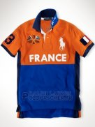 Ralph Lauren Homme Flag Polo France Bleu Orange