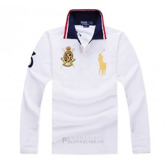 Ralph Lauren Homme Polo Manches Longues Pony Polo Blanc1