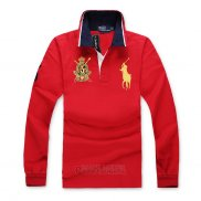 Ralph Lauren Homme Polo Manches Longues Pony Polo Rouge1