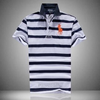 Ralph Lauren Homme Pony Polo Stripe Polo Noir Blanc Orange