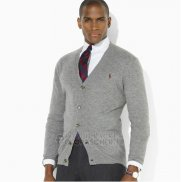 Ralph Lauren Homme Pull Cardigan With Button Clair Gris
