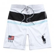 Ralph Lauren Homme Shorts Lacing Pony Polo Stripe Usa Blanc