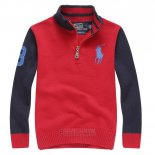 Ralph Lauren Enfant Pull Pony Polo Half Zip Rouge