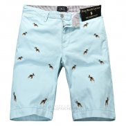 Ralph Lauren Homme Casual Short Pants Belt Dogs Pattern Clair Bleu