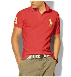 Ralph Lauren Homme Classic Fit Pony Polo Or Logo Watermelon Rouge