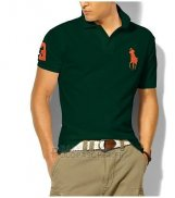 Ralph Lauren Homme Classic Fit Pony Polo Orange Logo Fonce Vert