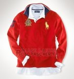Ralph Lauren Homme Polo Manches Longues Crest Pony Polo Rouge