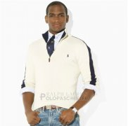 Ralph Lauren Homme Pull With Half Zipper Blanc Noir