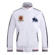 Ralph Lauren Homme Vestes Zip Collar Double Pony Polo Stripe Blanc