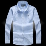 Ralph Lauren Homme Colorful Mesh Polo Grid Bleu Ciel Blanc