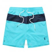 Ralph Lauren Homme Shorts Lacing Mesh Polo Stripe Bleu Ciel