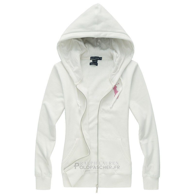 Ralph Lauren Femme Ensemble Survetement Pony Polo Zipper Blanc