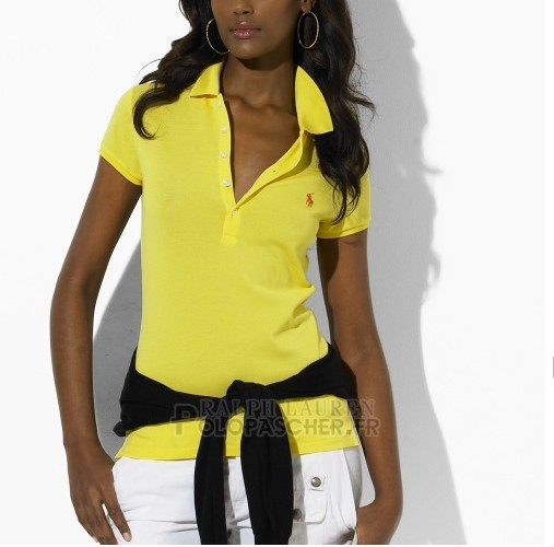 Ralph Lauren Femme Featured Notch Mesh Polo Manche Courte Jaune