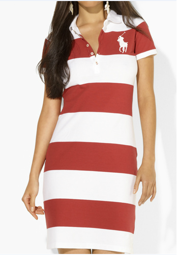 Ralph Lauren Femme Pony Polo Stripe Robes Blanc Rouge