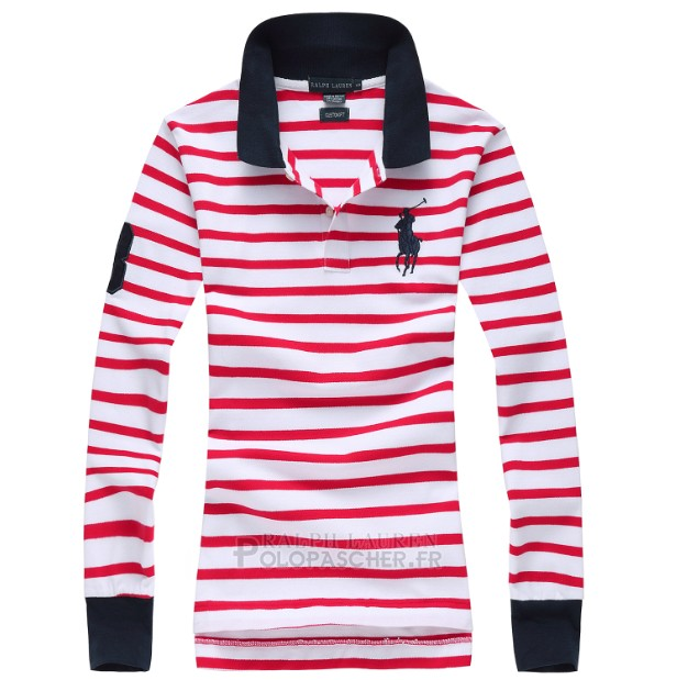 Ralph Lauren Femme Largo Chemise Pony Polo Stripe Polo Rouge