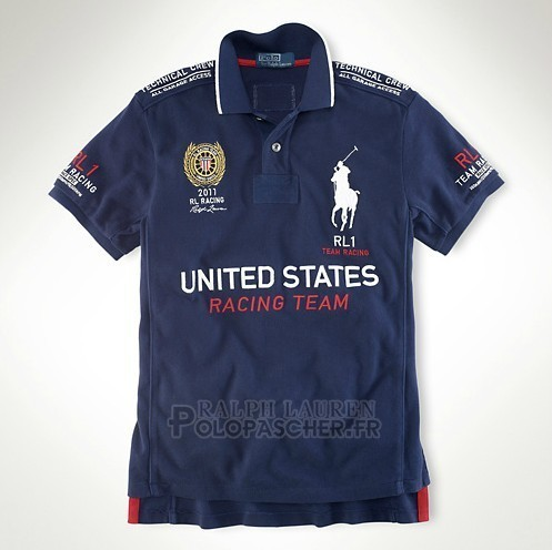 Ralph Lauren Homme Flag Polo Racing United States Fonce Bleu